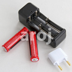 Set 2 Baterii Acumulator 3, 7 V Li-ion 5800 mAh + incarcator priza dublu