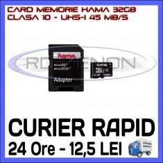 CARD MEMORIE HAMA MICRO SDHC 32GB UHS-I 45 MB/S CLASA 10 + ADAPTOR SD, Micro SD, 32 GB