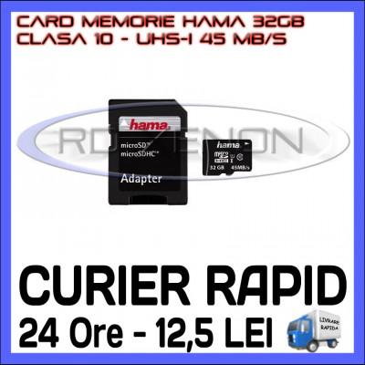 CARD MEMORIE HAMA MICRO SDHC 32GB UHS-I 45 MB/S CLASA 10 + ADAPTOR SD foto