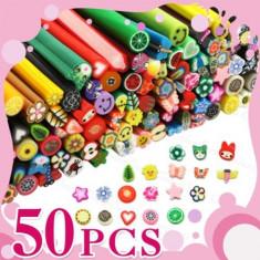 Batoane fimo pentru unghii, set de 50 batonase Nail Art 3D, plus cutter cadou - Model unghii