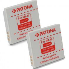 PATONA | 2 Acumulatori pt Canon NB 4L NB-4LH NB4L IXUS 230 220 130 120 115 110 - Baterie Aparat foto