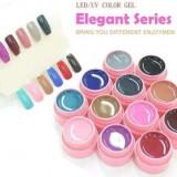 Geluri colorate set gel lampa uv color 12 culori CANNI Elegant Series - Gel unghii