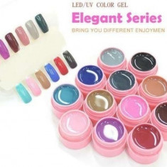 Geluri colorate set gel lampa uv color 12 culori CANNI Elegant Series - Gel unghii Canni, Gel colorat