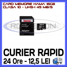 CARD MEMORIE HAMA MICRO SDHC 16GB UHS-I 45 MB/S CLASA 10 + ADAPTOR SD, Micro SD, 16 GB