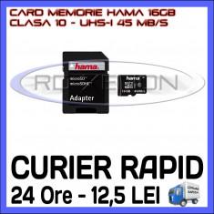 CARD MEMORIE HAMA MICRO SDHC 16GB UHS-I 45 MB/S CLASA 10 + ADAPTOR SD