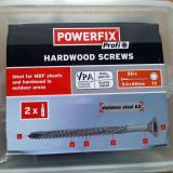 Suruburi inox A2 pentru lemn tare, uz exterior, 5x60mm, 60 bucati si 2 biti