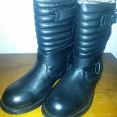 Ghete Zara Biker Piele Naturala - Ghete dama Zara, Culoare: Negru, Marime: 36