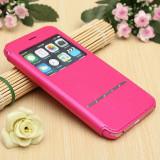 Husa iPhone 6 Plus 6S Plus S-VIEW Pink, Roz, Piele Ecologica, Apple