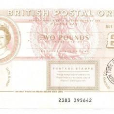 ANGLIA British Postal Order 2 POUNDS LIRE Manchester STAMP 1998 F - bancnota europa