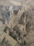 Veche GRAVURA ORIGINALA  scena medievala din localitatea FUSSEN regiunea ALLGAU GERMANIA  /  inramata , sticla protectie   / tablou, Istorice