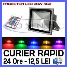 PROIECTOR RELFECTOR LED 20W - RGB CU TELECOMANDA - REZISTENT LA APA IP65 - ILUMINARE DECORATIVA - ALIMENTARE 220V - Corp de iluminat ZDM, Proiectoare
