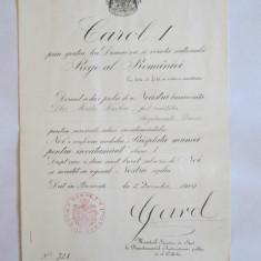 RARITATE! BREVET 1910 RASPLATA MUNCEI PENTRU INVATAMANT CLASA I, CU SEMNATURA IN ORIGINAL A REGELUI CAROL I