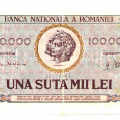 BANCNOTA 100000 100 000 LEI  25 IANUARIE 1947  STARE  BUNA
