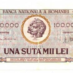 BANCNOTA 100000 100 000 LEI 25 IANUARIE 1947 STARE BUNA - Bancnota romaneasca