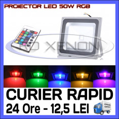 PROIECTOR RELFECTOR LED 50W - RGB CU TELECOMANDA - ILUMINARE DECORATIVA - 220V
