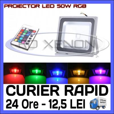 PROIECTOR RELFECTOR LED 50W - RGB CU TELECOMANDA - ILUMINARE DECORATIVA - 220V foto