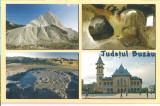 CPI (B4934) JUDETUL BUZAU. MANZALESTI, MUNTELE DE SARE, GROTA ALUNIS, VULCANII NOROIOSI, PALATUL MUNICIPAL, FOTO: FLORIN ANDREESCU, NECIRCULATA