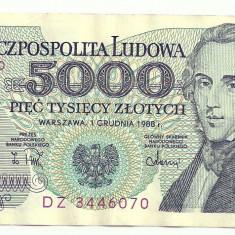 POLONIA 5000 5.000 ZLOTI ZLOTYCH 1988 [2] XF++, P-150c