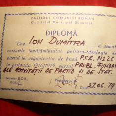 Diploma PCR, Invatamant Politic 1979 Activitatea de Partid - Diploma/Certificat