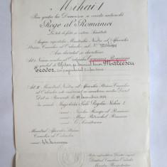 RARITATE! BREVET REGENTA ROMANIA(REGELE MIHAI COPIL) ORDINUL COROANA ROMANIEI IN GRAD DE OFITER DIN 29 DECEMBRIE 1929, REGENT C.SARATEANU!!!