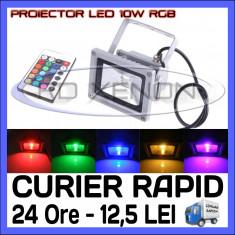 PROIECTOR RELFECTOR LED 10W - RGB CU TELECOMANDA - REZISTENT LA APA IP65 - ILUMINARE DECORATIVA - ALIMENTARE 220V