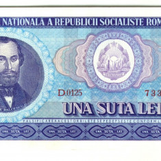 BANCNOTA 100 LEI 1966 STARE UNC - Bancnota romaneasca
