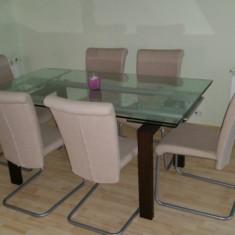 Masa extensibila din sticla + 6 scaune - Masa living