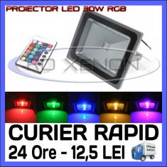 PROIECTOR RELFECTOR LED 30W - RGB CU TELECOMANDA - ILUMINARE DECORATIVA - 220V