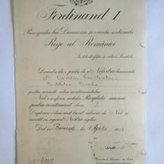 RARITATE! BREVET 1923 RASPLATA MUNCII PENTRU INVATAMANT CLASA I,CU SEMNATURA ORIGINALA DAR CAM STEARSA A REGELUI FERDINAND