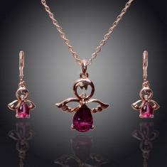 Set de bijuterii superb placat Aur 18k, Cristale : colier, cercei - Set bijuterii placate cu aur