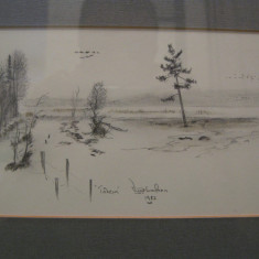 GRAFICA semnata Viggo Banfoen, realizare deosebita 1982 / rama argintie, sticla protectie / tablou - Pictor strain, Peisaje, Miniatural