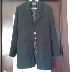 Sacou dama negru lung din stofa -stil jacheta, Marime: 42
