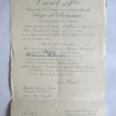 RAR! BREVET CAROL II ORDINUL STEAUA ROMANIEI IN GRAD DE OFITER DIN 8 IUNIE 1940