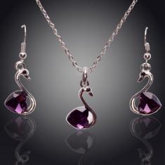 Set de bijuterii superb placat Aur 18k, Cristale : colier, cercei - Set bijuterii handmade si fashion