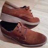 Pantofi piele intoarsa maro - Pantof barbat, Marime: 40