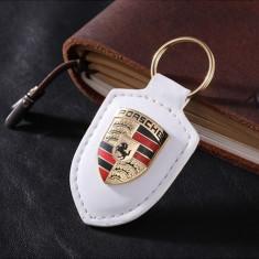 Breloc nou logo PORSCHE alb piele + inox si cutie cadou - Breloc Auto