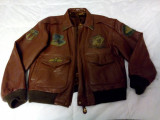 Geaca aviator, pilot Royal Air Force autentica, din piele, vintage, restaurata, XL, Maro