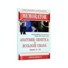 Memorator de anatomie, genetica si ecologie umana. Clasele 11 - 12