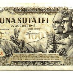 ROMANIA 100 LEI 27 AUGUST 1947 AUNC - Bancnota romaneasca
