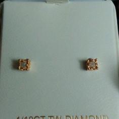 CERCEI DIAMANTE naturale, argint placat cu aur, SUA noi - Cercei cu diamante