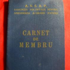 Carnet Membru AVSAP - Apararea Civila 1959 - Diploma/Certificat