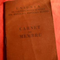 Carnet Membru UCFS - Cultura Fizica si Sport, 1959, cu 10 timbre de cotizatie - Diploma/Certificat
