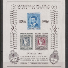 Argentina.1956 100 ani marca postala-Bl. DC.305 - Timbre straine
