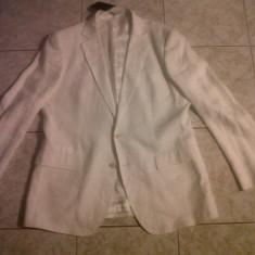 Sacou Zara alb original - Sacou barbati Zara, Marime: 54, Doua randuri de nasturi, Marime sacou: 54, Normal