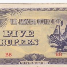 OCUPATIA JAPONEZA IN BURMA 5 rupees 1942 XF+++!!! - bancnota asia