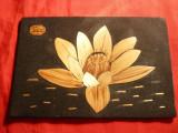 Tablouas pe lemn  - Lotus - Baile Felix - 14,8 x 9,8 cm