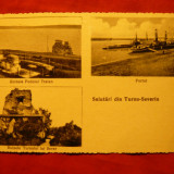 Ilustrata Turnu Severin - 3 Vederi - Portul 1936, Libr. Gh. stefanescu - Carte Postala Banat dupa 1918