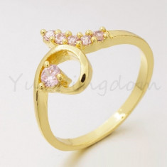 Superb inel 9K GOLD FILLED cu cristale CZ. Marimea 8 - Inel placate cu aur