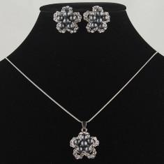 Set de bijuterii superb placat Aur 18k, Perle si Cristale cod 2978 - Set bijuterii placate cu aur