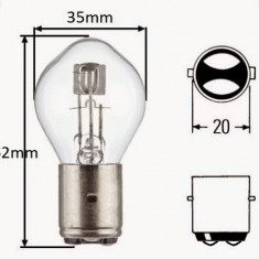 Bec / Lumini ( para ) far Moto Scuter CPI Popcorn (pana in anul anul 2003 - bolt de 10mm) ( 2 faze / 12v - 35W/35W ) - Becuri Moto